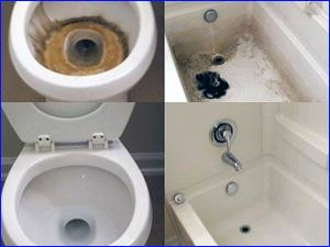 Пример чистки ванны и унитаза фото ДО и ПОСЛЕ