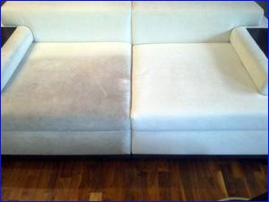 Чистка белого мягкого дивана ДО и ПОСЛЕ результат