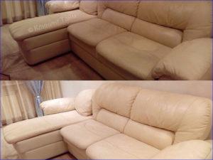 Результат химчистки дивана из кожи ДО и ПОСЛЕ