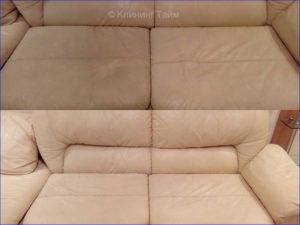 Итоговый результат химчистки светлого дивана